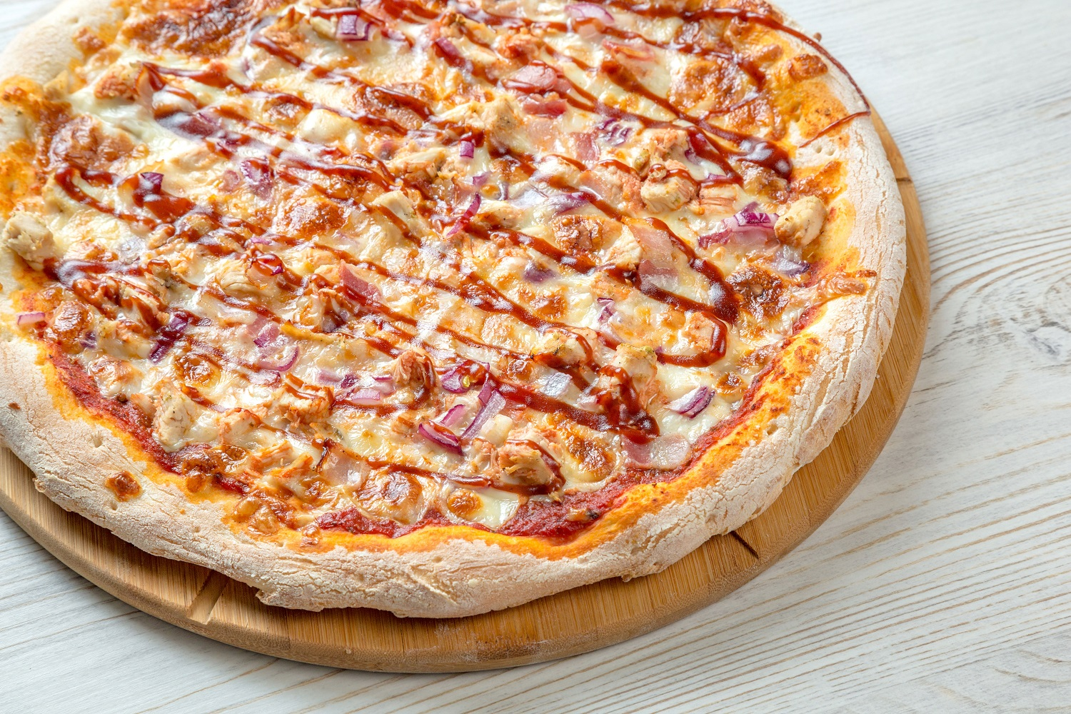 BBQ Sauce and chicken pizza