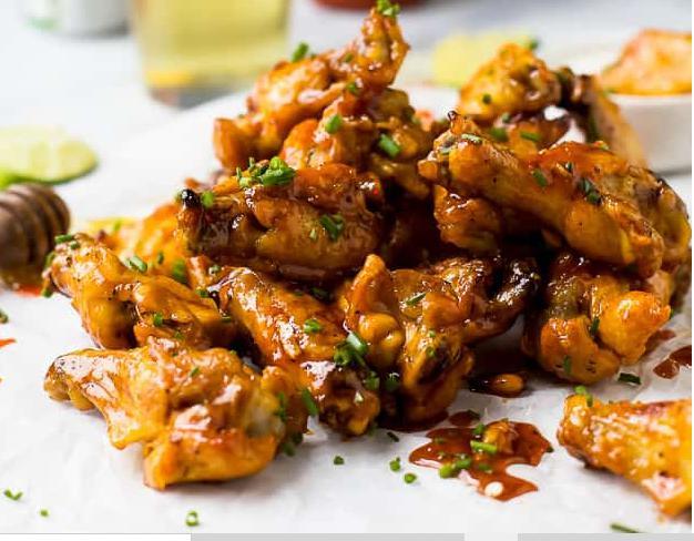 Honey sriracha baked chicken wings