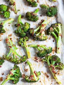 Spicy bacon roasted broccoli