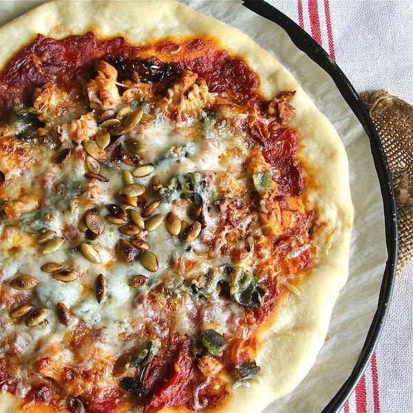 BBQ chicken pizza and poblanos
