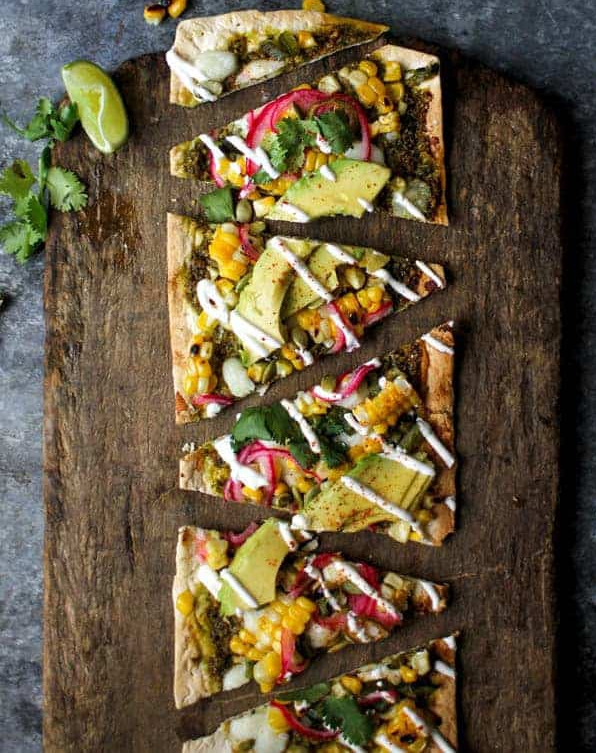 Grilled Mexican street corn pizza