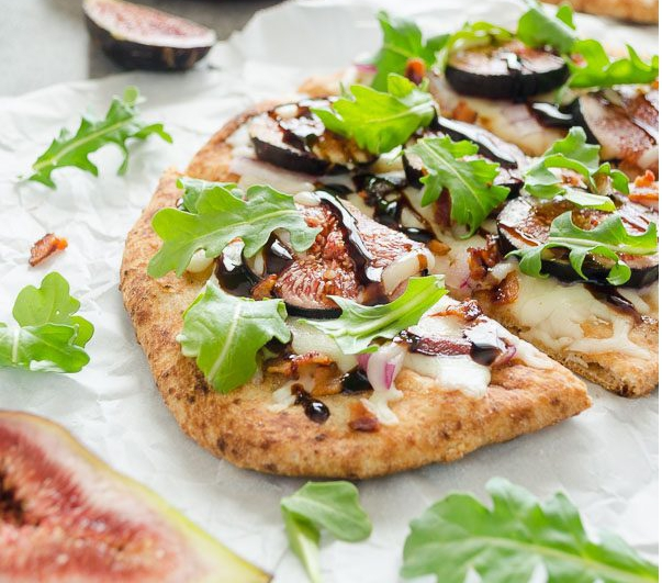 Grilled fig bacon arugula and flatbread pizza