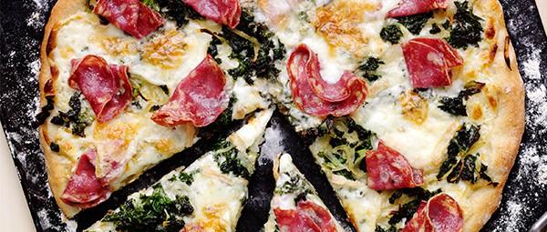 salami-garlic-greens-and-taleggio-pizza