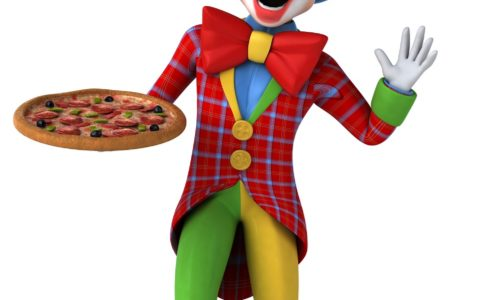 clown holding pizza