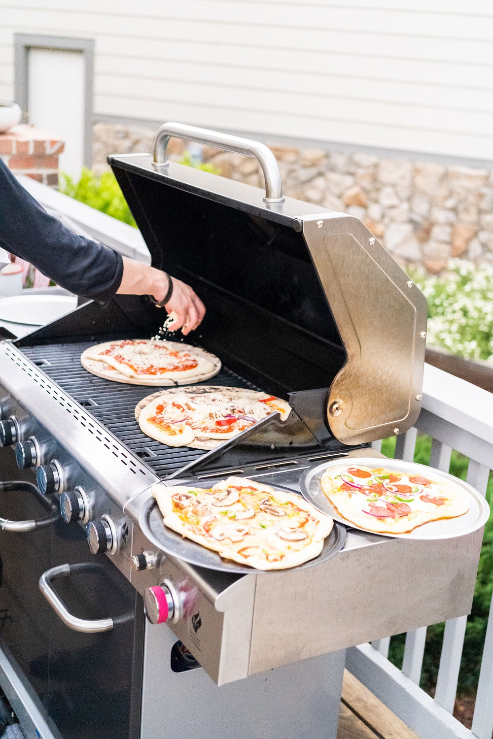 frozen pizza on the grill