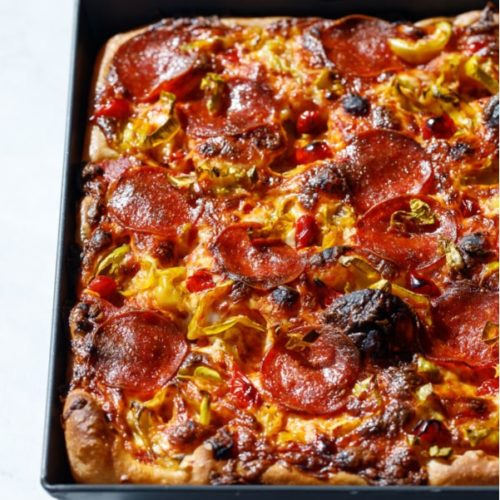 Detroit style pepperoni and pickled pepper pan pizza