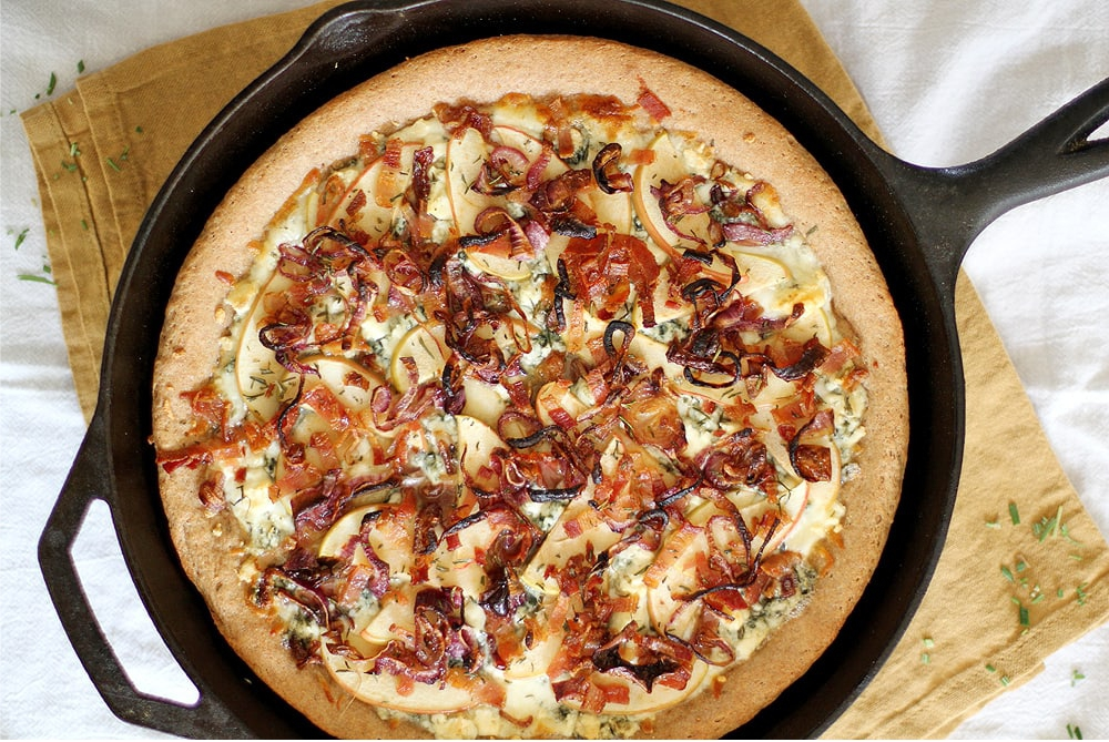 Caramelized apple bacon and blue cheese