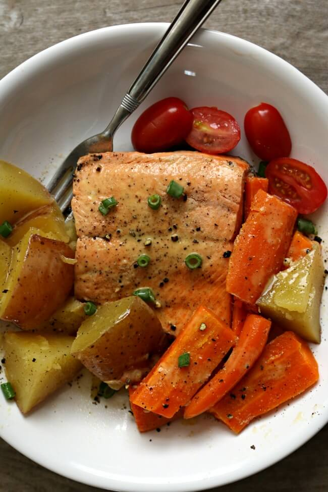 Instant Pot Lemon Butter Garlic Salmon with Home style Vegetables