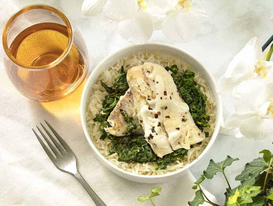 Instant pot haddock fish with spinach