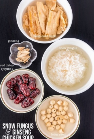 Snow fungus and ginseng chicken soup